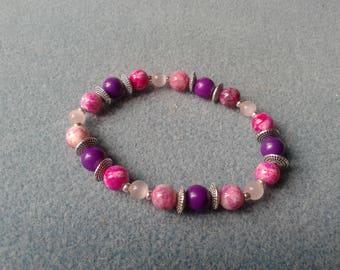 Ethnic chic pink and silver bracelet