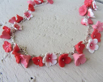 boho polymer clay pink flower charm necklace / red on silver plated chain