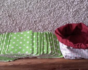 20 wipes/Washcloths in organic cotton