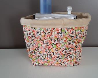 Orange/green floral pattern fabric basket