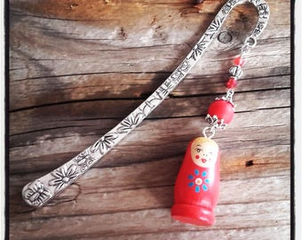 Bookmark silver flowers / butterfly and Russian doll charm / red beads