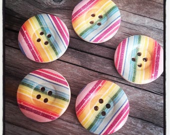 set of 5 large button wood stripe 25 MM