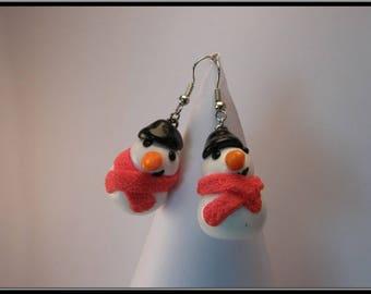 Snowman snow Fimo earrings...