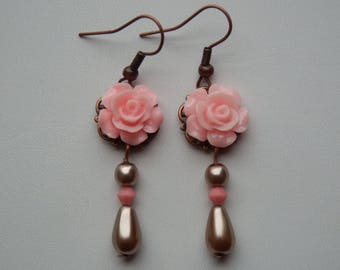 """Les Roses"" rose and filigree earrings"