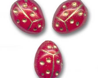 8 beads 14 x 10 mm Opaque red and gold ladybugs