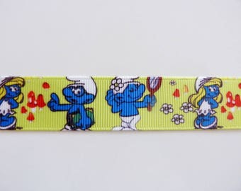 "Ribbon grosgrain ""smurf and smurfette"""