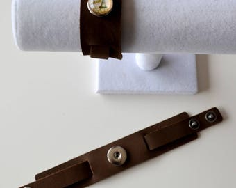 Adjustable Brown BRACELET for snap CHUNK