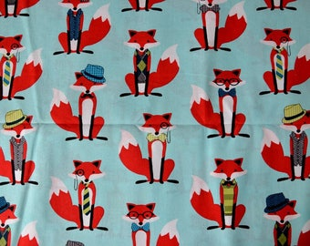 "TURQUOISE pattern ""Mr Fox"" red/black/white cotton fabric"
