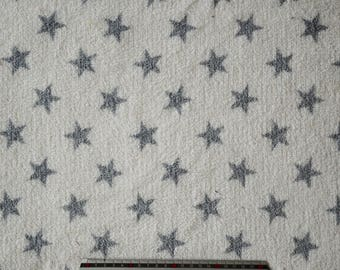 """Grey stars"" pattern white minkee fabric - reversible"