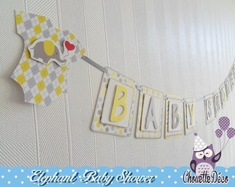 Garland relief - elephant baby shower - yellow grey - for sweet table