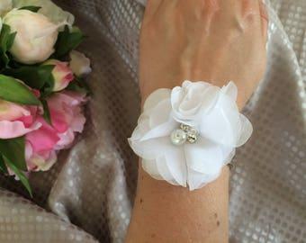 White chiffon flower bracelet