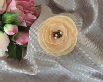Flower 6.5 cm beige chiffon with pearls