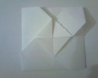 Set of 10 white square envelopes closure triangle No. 3