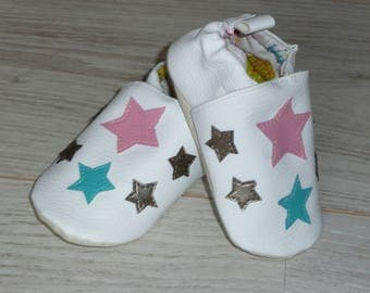 Slippers size 22 white stars of pastel color