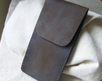 Brown matte hand-stitched leather phone case