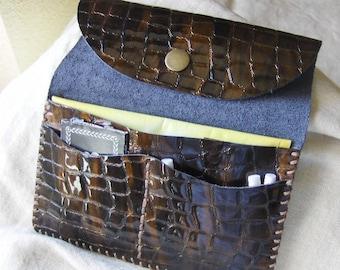 Hand sewn bronze crocodile leather tobacco pouch