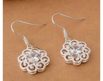 Earrings filigree Crystal quartz and Silver 925 stamp