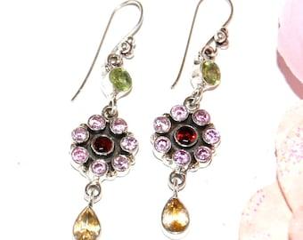Amethyst, peridot, citrine - marked 925 Sterling Silver earrings