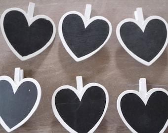 White slate heart clothespins