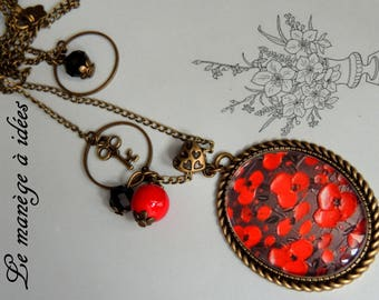 "Necklace ""Red chic"" vintage bronze metal."