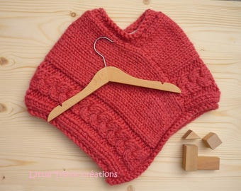 TO order: Poncho girl 2 years (24 months baby) pink azalea, hand-made of wool and alpaca