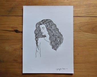 Black and white woman portrait illustration A4