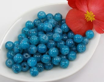 Beads 6 mm glass effect marbe cyan blue color set of 20
