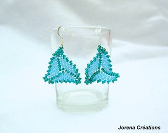 Beadwoven blue and green triangle shape earrings