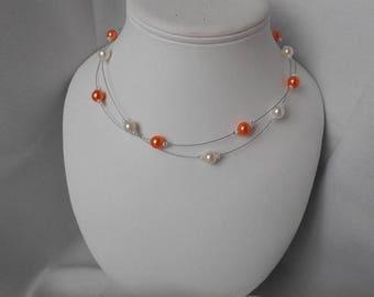 ELA orange and Pearl beaded necklace