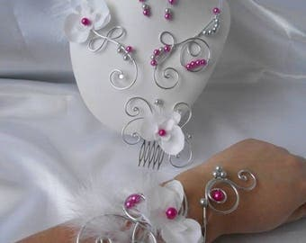 """Set 4 pieces """"CHRYSTEL"""" necklace wedding comb, bracelet & Earrings silver and fuchsia"""
