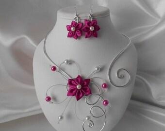 Wedding BELLA flower 2 piece necklace & Earrings set in silver & fuchsia