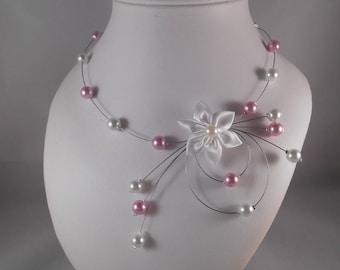 Wedding pink ATHENA powdered & white necklace