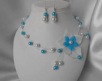 """Wedding 2 piece """"M"""" necklace & Earrings set in turquoise & white"""