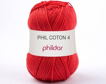 fil phildar Fil PHIL COTON 4 coloris rouge