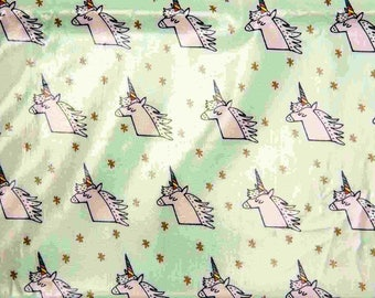 Laminated cotton patterns Unicorn Mint/gold color