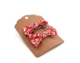 2 hair bows in Liberty Clare and Emily Red 5 cm
