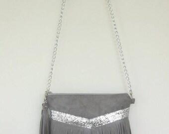 Alam grey glitter grey fringe bag