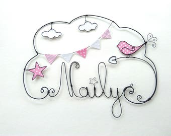 "Name wire ""a bird in a sky star"" nursery wall decor"