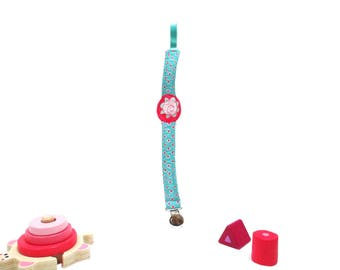 Pacifier (pacifier) mint and pink flower pattern