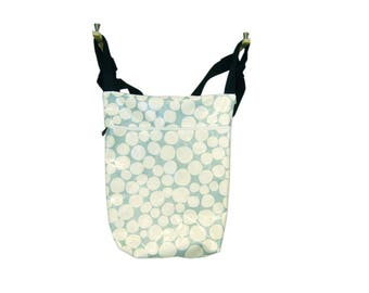 Light turquoise blue stroller bag with big white polka dots