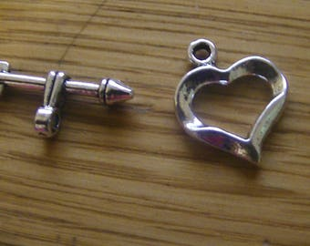 set of 5 heart clasp