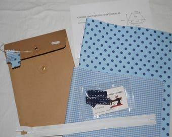 Sewing Kit, Kit canvas coated, zippered and lined, blue gingham, polka dots
