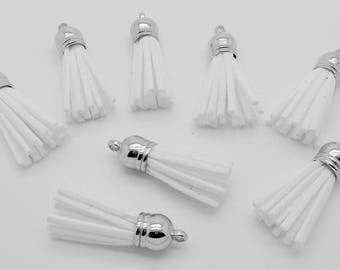 35mm white suede tassel