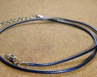 45 cm Choker - leather blue AC6 waxed cotton