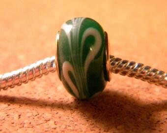 bead charm European glass Lampwork - green and white - 14 x 9 mm-C45-5