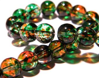 20 beads-glass - 8 mm translucent 2 tones - green and orange PG143 2
