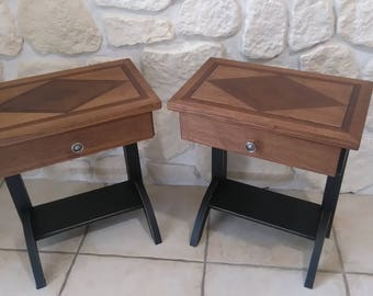 2 weathered old bedside tables