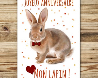 double greeting card - birthday - Bunny FSC paper