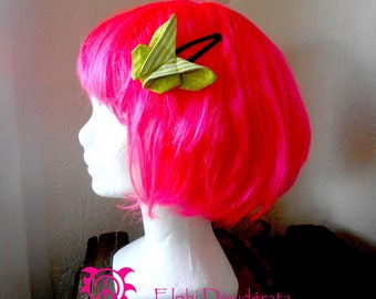 Green style fabric origami Butterfly hair clip romantic.