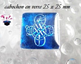1 square glass cabochon size 25 x 25 mm blue arabesque theme